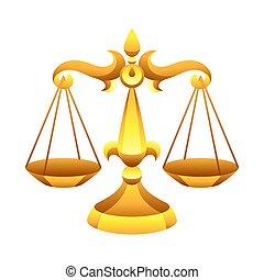 bilancia, segno, simbolo., oroscopo, zodiaco, dorato