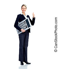 bilansista, handlowa kobieta, z, calculator.