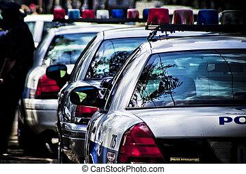 bilar, amerikan, polis, baksidaen beskådar