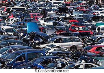 bilar, avfall, gammal, gård, hundreds