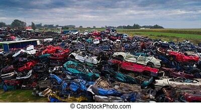 bilar, avfall, yard., stackat, kassera