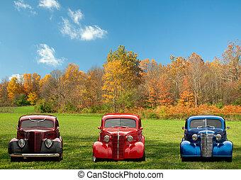bilar, färgrik, klassisk