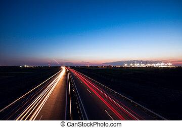 bilar, fortkörning, på, a, motorväg