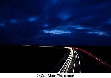 bilar, gripande, motorväg, fasta