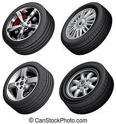 bilar, hjul, knippe