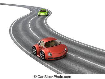 bilar, lopp, grön, väg, röd