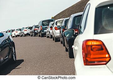 bilar, marmelad, trafik, lott, väg