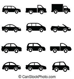 bilar, och, lastbilar