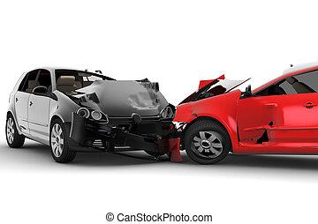 bilar, olycka, två
