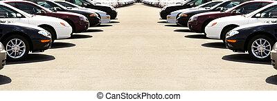 bilar, på, bil lott