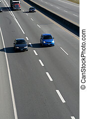 bilar, på, motorväg