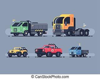 bilar, sätta, slagen