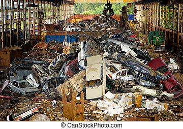 bilar, scrapyard, gammal