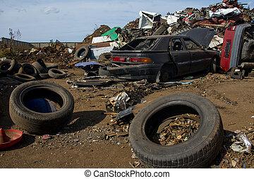 bilar, skadat, gammal, skrotupplag