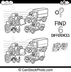 bilar, skillnad, kolorit, fläck, bok