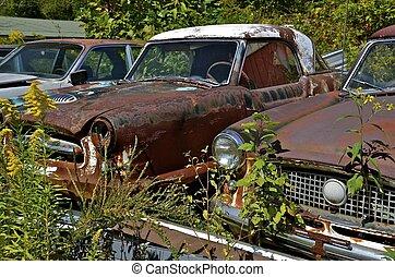 bilar, skräp, gammal, gård, packat