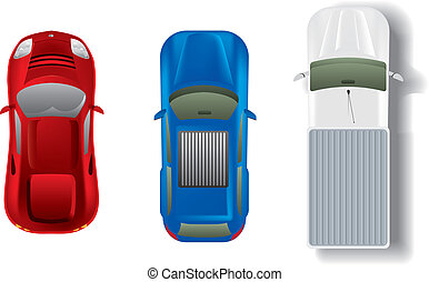 bilar, topp, sätta, olik, synhåll