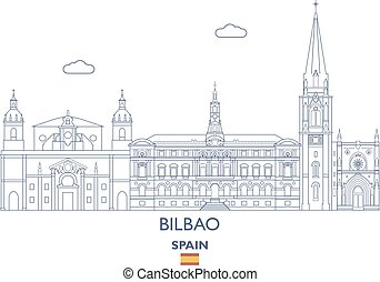 Bilbao City Skyline, Spain - Bilbao Linear City Skyline,...