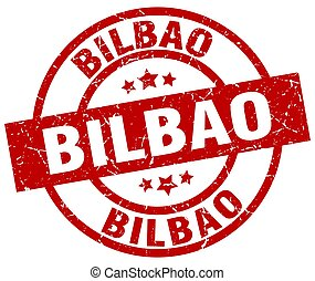 Bilbao red round grunge stamp