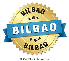 Bilbao round golden badge with blue ribbon