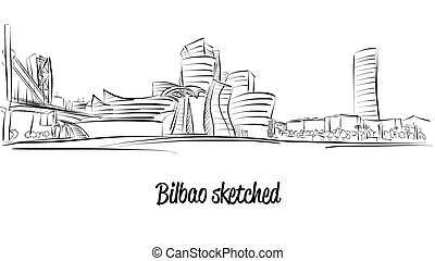 Bilbao Skyline, Hand drawn Vector Artwork