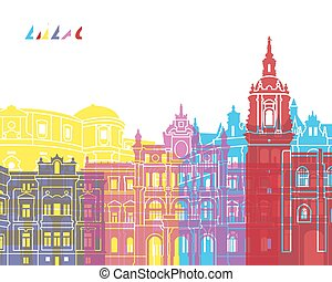 Bilbao skyline pop in editable vector file