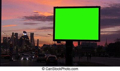 bilboard, ekran, zajęty, zielony, ulica.