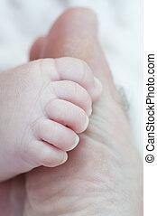 bild, av, a, ny född, foot.