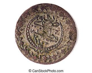 bild, av, a, tillsluta, av, en, forntida, ottoman, mynt