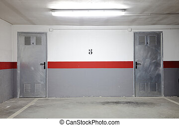 bild, av, en, tom, garage