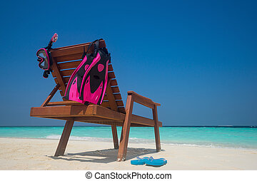 bild, av, strand lätting, på, den, tropical strand, vacation., resande, drömmar, begrepp
