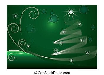 bild, baum, vektor, grüner hintergrund, weihnachten