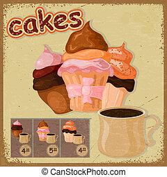 bild, eps10, coffee., becher, postkarte, weinlese, -, zeichen, kuchen, café