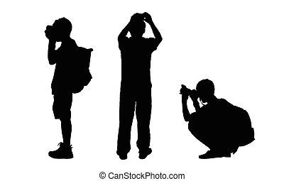 bild, folk, tagande, silhouettes, vektor, kamera.