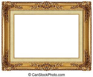 bild, gold, rahmen, mit, a, dekoratives muster