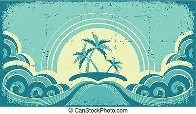 bild, grunge, tropische , handflächen, island., wasserlandschaft, weinlese
