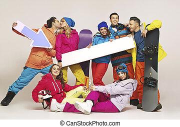bild, gruppe, snowboarders