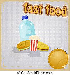 bild, hintergrund, retro, schnell, essen.