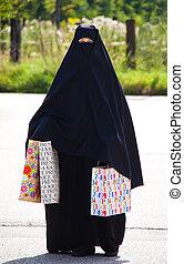 bild, kvinna, förtäckt, islam., muslimsk, burqa, exempel