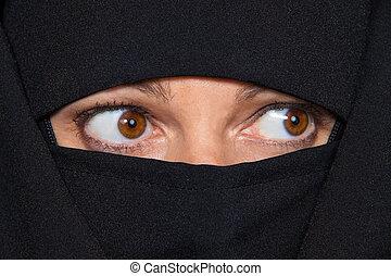 bild, kvinna, förtäckt, islam., muslimsk, burqa., exempel