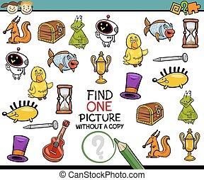 bild, ledig, spiel, karikatur, finden