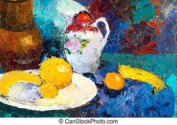 bild, liv, m.sh., artist, målad, khaziev., oils., ethnography, ännu
