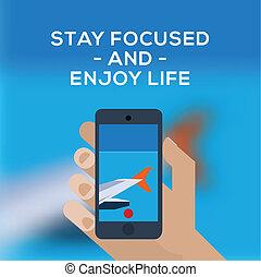 bild, machen, smartphone, motorflugzeug