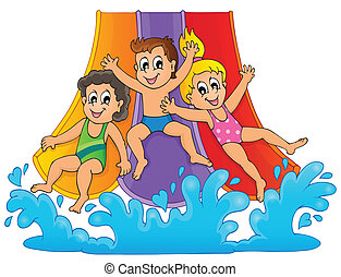 bild, mit, aquapark, thema, 1