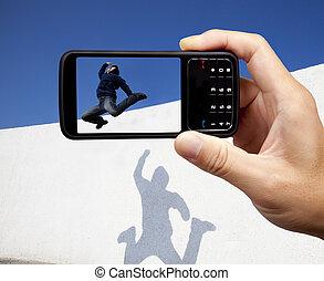 bild, mobil, tagande, ung, ringa, jumper