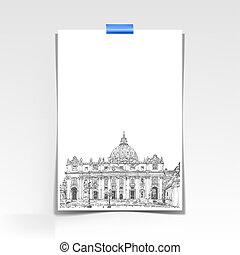 bild, peters, ark, st., rom, papper, domkyrka, vatic