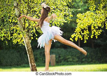 bild, reizend, nymphe, tanzen, junger, präsentieren