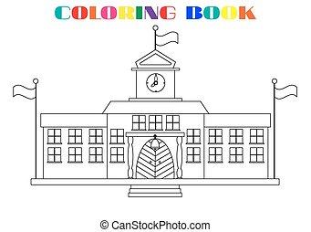 bild, schule, färbung, -, gebäude, buch