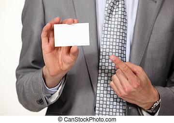 bild, seine, card., ausstellung, kupiert, geschäftsmann