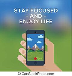 bild, smartphone, berg, begriff, reise, abenteuer, machen